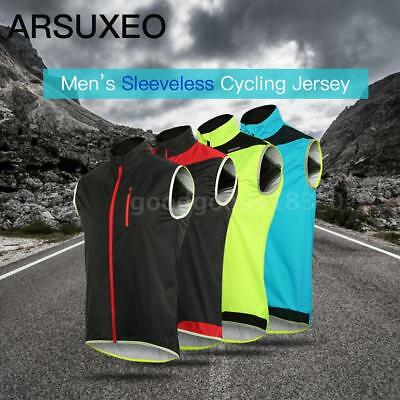 ARSUXEO Men's Sleeveless Cycling Jersey Full Zipper Breathable Running Tops C5I9