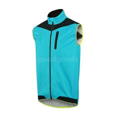 ARSUXEO Men's Sleeveless Cycling Jersey Full Zipper Breathable Running Tops W4L0