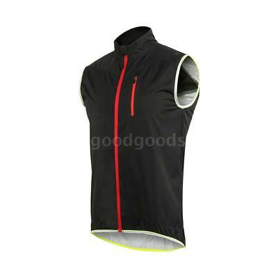 ARSUXEO Men's Sleeveless Cycling Jersey Full Zipper Breathable Running Tops K7Y8