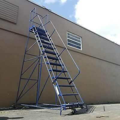 Louisville Rolling Ladder 12 -Step with Hand Rail Gillis Saf-T 13 ft LOCAL PICK