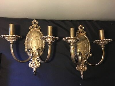 Antique Brass Victorian Ornate Scones Lamps Gas ? Electric ?