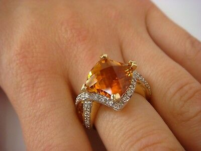 Stunning 18K Solid Yellow Gold Citrine And Diamonds Designer Ladies Ring