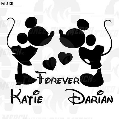 Mickey Minnie Mouse Kissing Forever Custom Names Your Name Vinyl