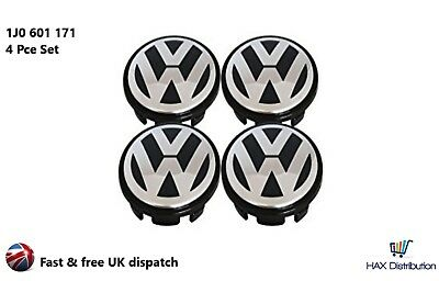 VW VOLKSWAGEN SET OF 4 WHEEL CENTRE CAPS POLO BORA BEETLE -56mm- 1J0601171 - UK