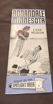 Vintage 1945 Annandale Clearwater Lake Area Minnesota Brochure Map