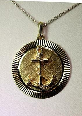 "Beautiful 14K Yellow Gold Anchor Medallion Pendant 1.25"" – 7732"
