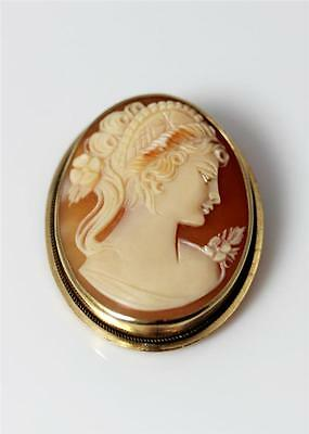 "Beautiful Antique 14K Yellow Gold Carved Shell Cameo Pin/Pendant 1.5"" - 8273"