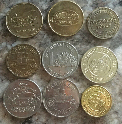Lot of 9 all different car wash tokens collection unique Vintage old  A26