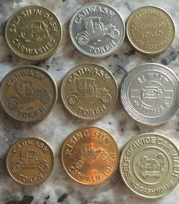 Lot of 9 all different car wash tokens collection unique Vintage old  A23