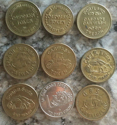 Lot of 9 all different car wash tokens collection unique Vintage old  A22