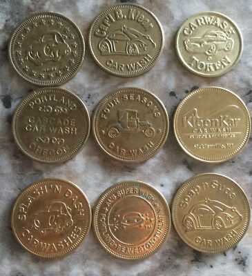 Lot of 9 all different car wash tokens collection unique Vintage old  A21