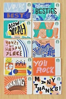 Lot of 10 Starbucks 2018 Recycled Paper Spring Set of Gift Cards