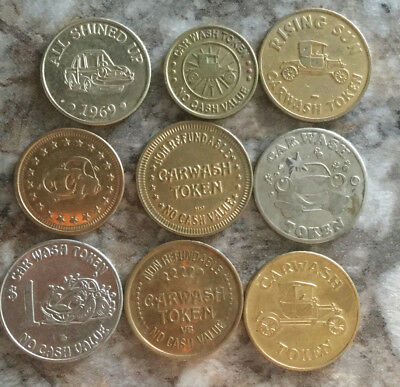 Lot of 9 all different car wash tokens collection unique Vintage old  A20