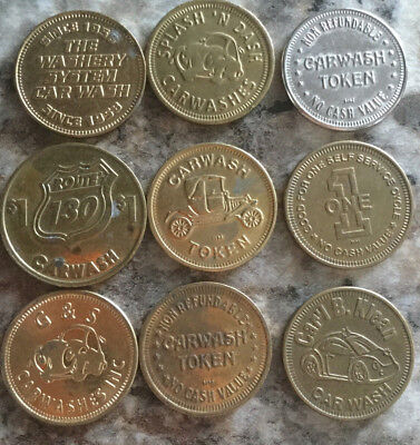 Lot of 9 all different car wash tokens collection unique Vintage old  A18