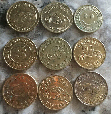 Lot of 9 all different car wash tokens collection unique Vintage old  A17