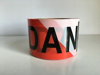 "PRINTED ""DANGER"" TAPE 75mmx100m Heavy Duty PVC, RED & WHITE"