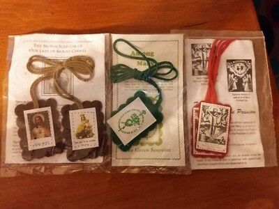 Brown, Red and Green Scapular Set