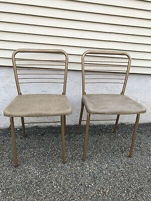 Set of 2 Vintage Mid Century Modern Hamilton Cosco Fashionfold Folding Chairs