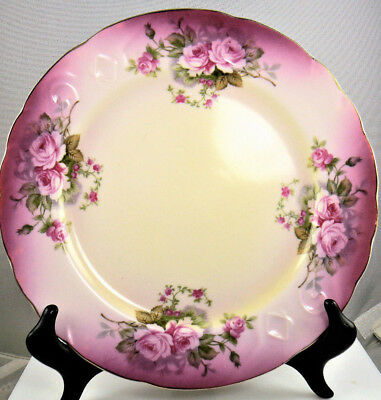 "Set Of 4 Vintage Lefton China Ceramic Hand Painted Pink Floral Plates 9""(W7-6)"