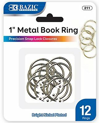 Metal Book Rings, 1 Inch, Silver for School, Home, or Office