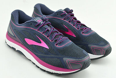 80e22ea9a42 Womens Brooks Dyad 9 Running Shoes Size 9.5 Wide Navy Blur Pink White Worn  Once