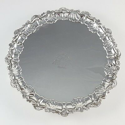 Antique George Ii Sterling Silver Waiter Card Tray Dorothy Mills Ldn 1752