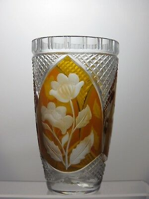 Czech Bohemian Crystal Glass Vase With 3 Amber Cut To Clear Panels