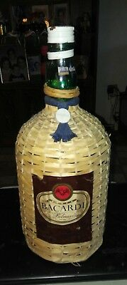 Vintage Ron Bacardi Palmas Rum Bottle with Wicker Cover