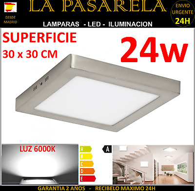 DOWNLIGHT Panel LED 30x30 Cuadrado 24W Superficie,  6000K GRIS / PLATA plafon
