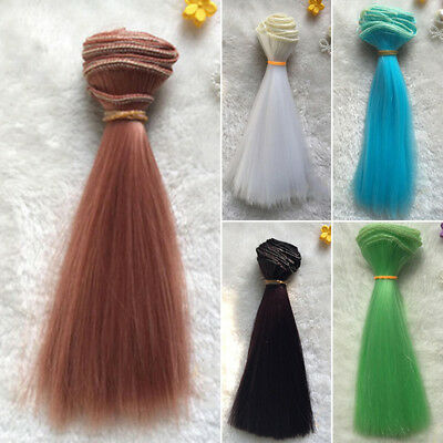 100x15cm Brown Synthetic Extension Hair Wig for Doll Hairdressing Styling new
