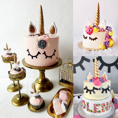 AU Unicorn Eyelash Cake Topper Kids Birthday Cake Decoration Party Craft DIY
