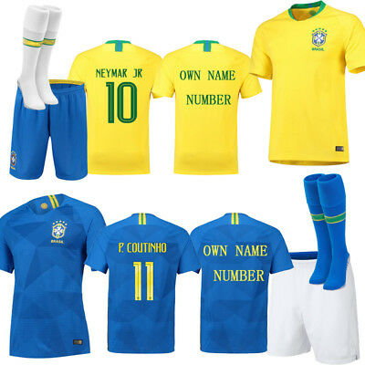 differently 479ea f4266 2018 FOOTBALL JERSEY Brazil national Kit Kids Youth Adults Shorts Socks  Suits