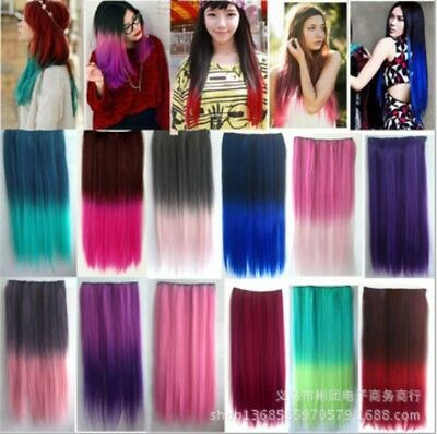 Women Multicolor Party Long Straight Thick Clip in Ponytils Hair Extensions Wigs