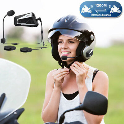 1200M BT Motorcycle Bluetooth Helmet T9S Intercom System Motorbike Interphone
