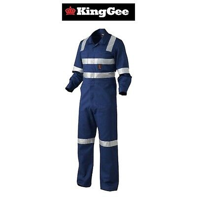 Mens KingGee Hi-Vis Combo Cotton Drill Overall K51015 Tough Strong Work Overalls