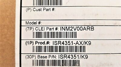 New Cisco Isr4351-Ax/k9 With Ipbase Sec App Licenses And Pwr-Poe-4450 Psu