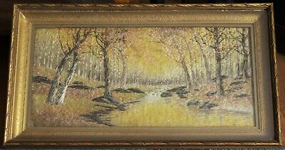 Antique Shadow Box Framed Silk Thread Art - River In Forest