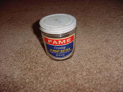 VINTAGE GLASS JAR FAME CREAMY PEANUT BUTTER 12 oz 70s 80s PROP ART PAPER LABEL