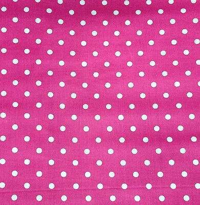 "Small White Polka Dot on Fuchsia Pink Poly Cotton Fabric 60"" By the yard"