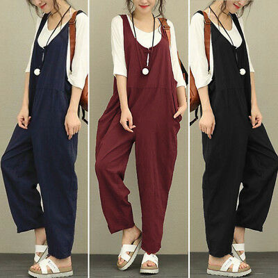 55535d9c701c Women s Casual Loose Linen Pants Cotton Jumpsuit Strap Harem Trousers  Overalls