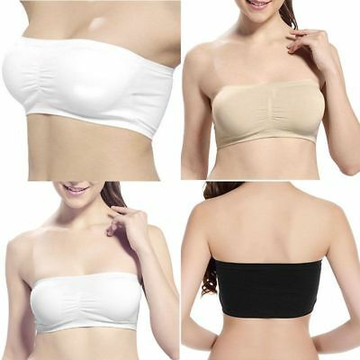 1463072f90023 USA Women Strapless Padded Bra Bandeau Tube Top Removable Pads Seamless  Crop Bra