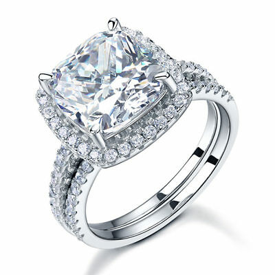 STERLING SILVER 5ct Cushion Cut CZ Wedding Engagement 2 Ring Set Size 5 6 7 8 9