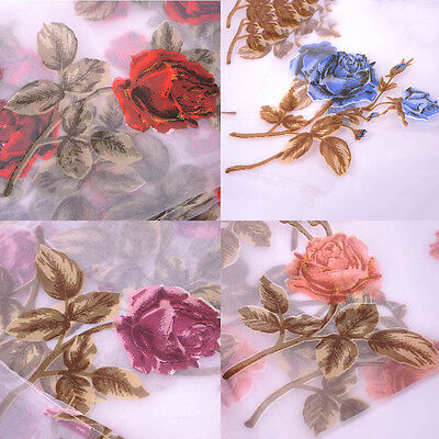 Rose Floral Tulle Voile Door Window Curtain Drape Panel Sheer Scarf Valances HOT