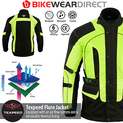 Texpeed Black & Hi-Vis Waterproof Motorcycle / Motorbike Jacket In Sizes M-10XL