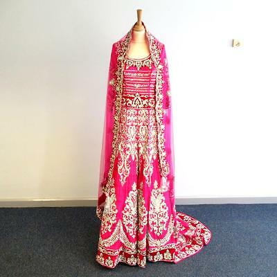 Indian Bridal Party Dress- Lehenga Choli Dupatta-Fuschia Pink- Crystal/Velvet