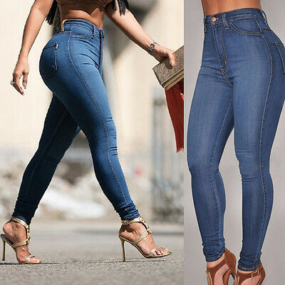 Women High Waist Ripped Denim Jeans Flower Embroidered Skinny Stretch Trouser