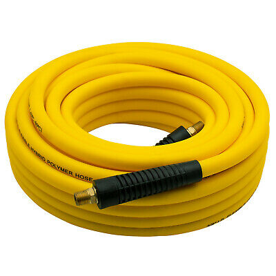 """50Ft Hybrid Air Hose,3/8"""" ID,300 PSI,w/1/4"""" MNPT Brass End Fittings,Non-Kinking"""