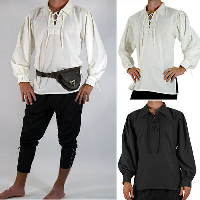 Retro Medieval Scottish Highland Jacobite Jacobean Men Ghillie Kilt Shirt