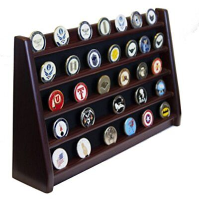 5 Rows Shelf Challenge Coin Holder Display Casino Chips Solid Wood Cherry Finish
