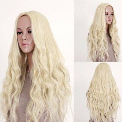 Fashion Long Wavy Curly Full Wig Princess Hair Style Cosplay Party Blonde 27.5in